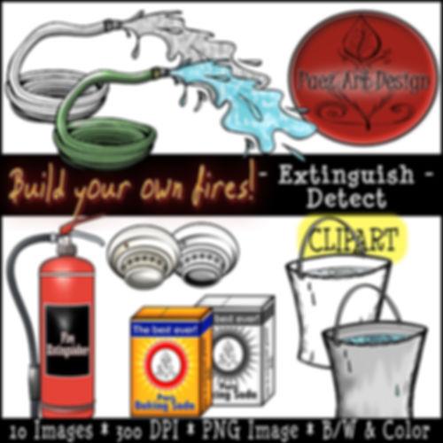 Fire Clip Art Images | Science Graphics | Educational | Extiguish, Detect, Water, Extinguisher, smoke detector, Baking Soda | PaezArtDesign Digital Art
