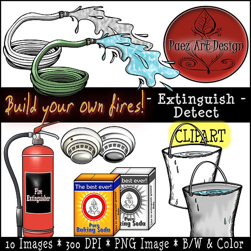 Fire Clip Art Images | Science Graphics | Educational | Extiguish, Detect, Water, Extinguisher, smoke detector, Baking Soda | PaezArtDesign Digital Art