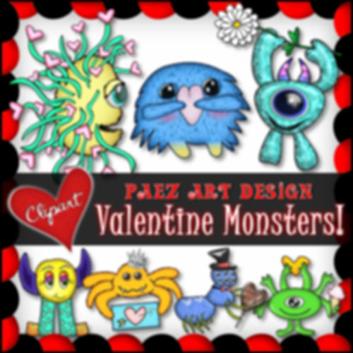Valentine Monsters Clip Art | Holiday Graphics | PaezArtDesign Digital Art