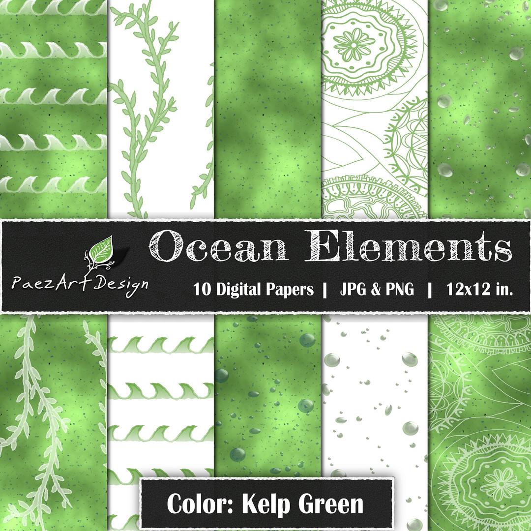 Ocean Elements: Kelp Green {PaezArtDesign}