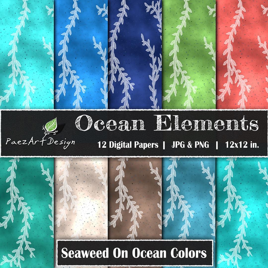 Ocean Elements: Seaweed On Color {PaezArtDesign}