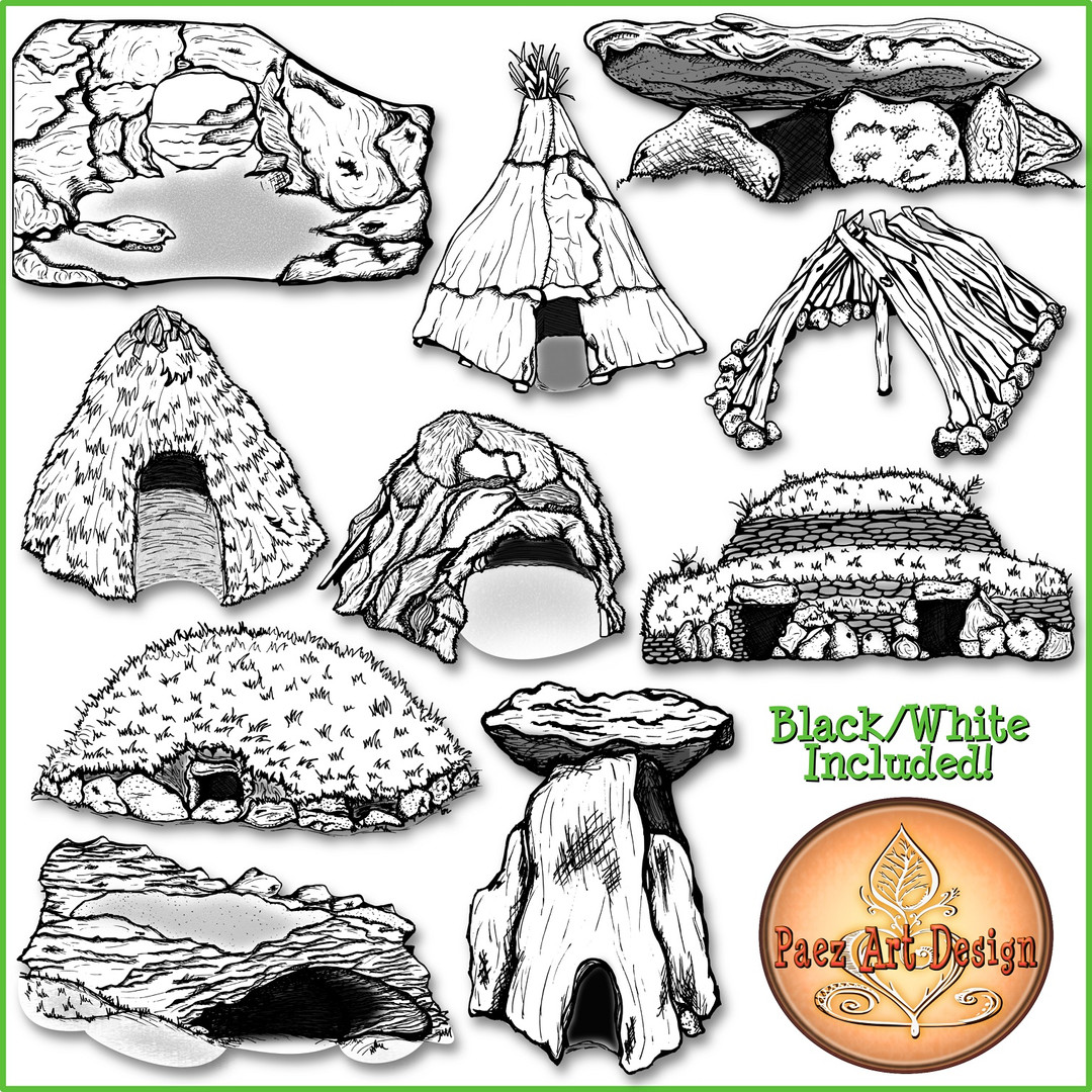 Prehistoric Dwellings Clip Art {PaezArtDesign}