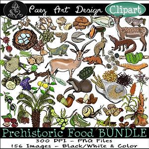 Prehistoric Era Clip Art Images | Food BUNDLE: Fruit, Berries, Nuts, Seeds, Insects, Grains, Meat, Hunter, Gatherer | History & Science Graphics | PaezArtDesign Digital Art