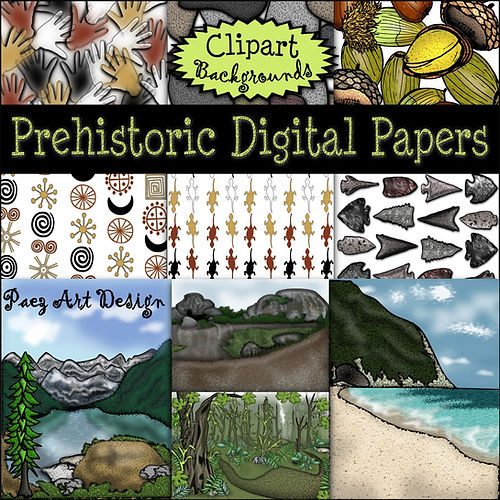 Prehistoric Era Clip Art Images | Digital Papers & Backgrounds: Bark & Vegetation, Ferns, Plants | History & Science Graphics | PaezArtDesign Digital Art