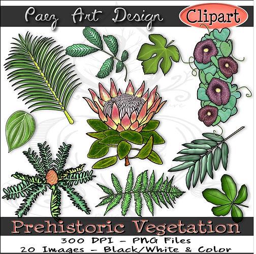 Prehistoric Era Clip Art Images | Vegetation, Plants, Flowers, Leaves, Ferns, King Protea, Dutchmans Pipe & More | History & Science Graphics | PaezArtDesign Digital Arts