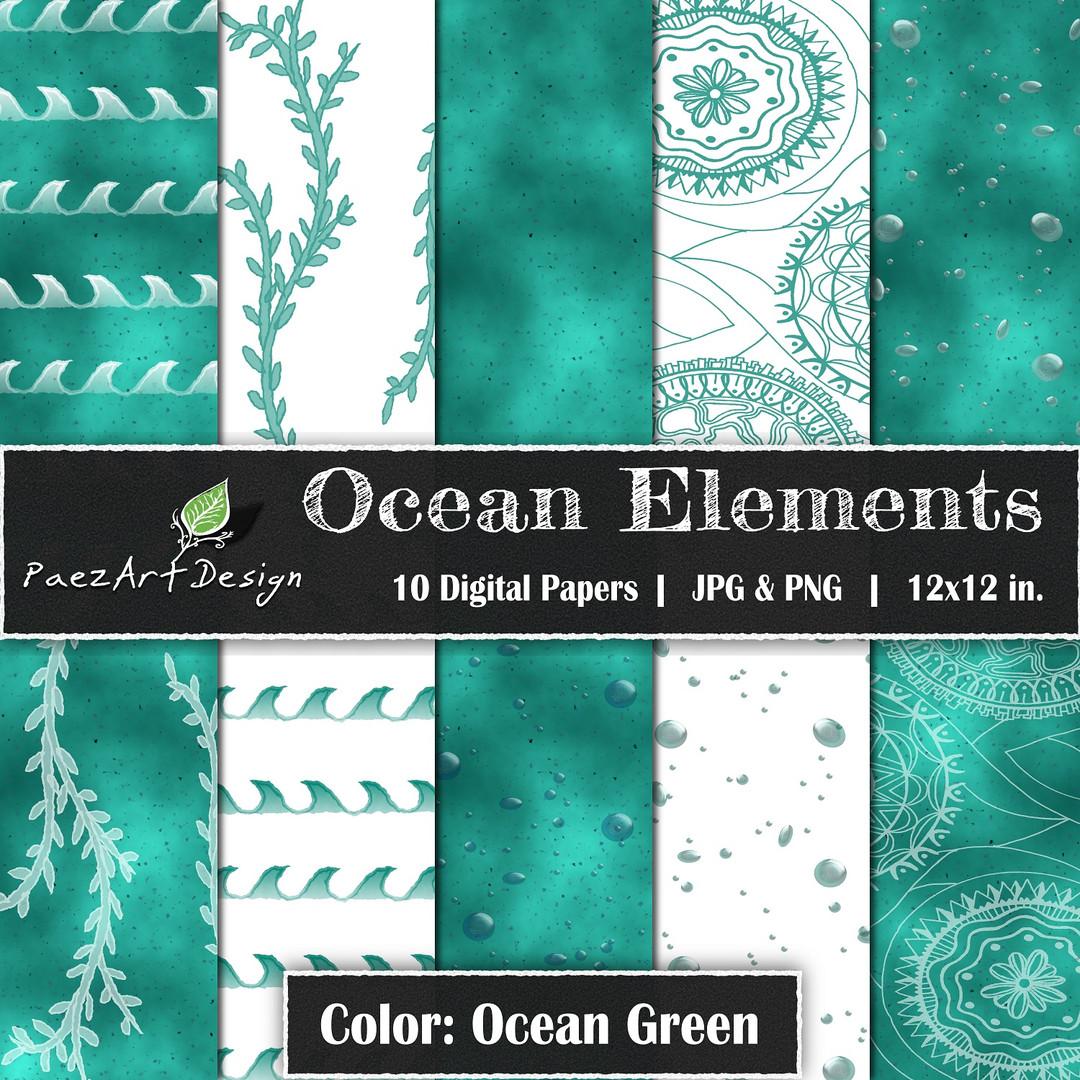 Ocean Elements: Ocean Green {PaezArtDesign}
