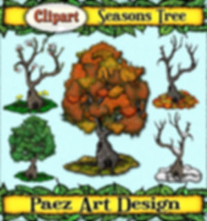 Season Tree Clip Art Images | Seasonal Nature Graphics | PaezArtDesign