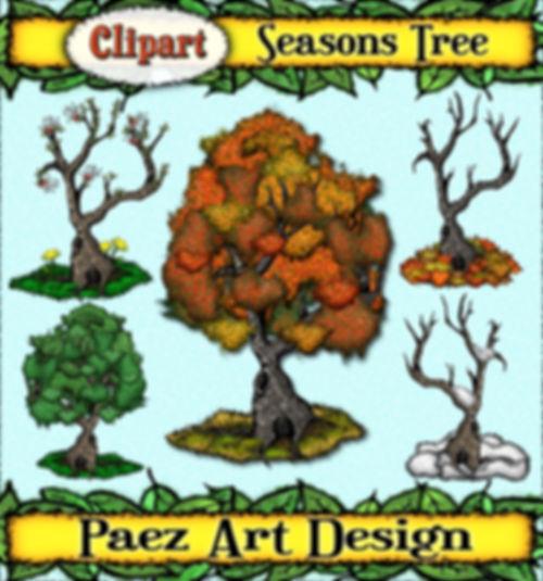 Seasons Tree Clip Art {PaezArtDesign}