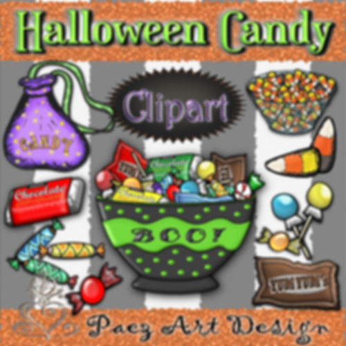 Halloween Candy Graphics | Holiday Clip Art | PaezArtDesign Digital Art