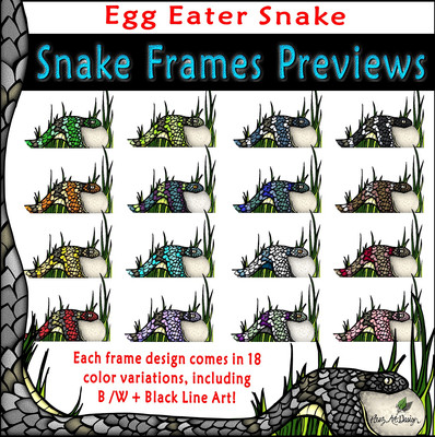 Snake Clip Art Frames: Egg Eater Snake {PaezArtDesign}