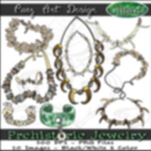 Prehistoric Era Clip Art Images | Jewelry, Art, Denisovan Chlorite, Shells, Teeth, Claws | History & Science Graphics | PaezArtDesign Digital Arts