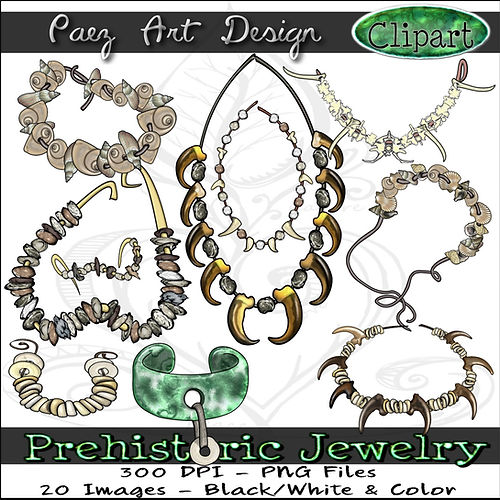 Prehistoric Jewelry Clip Art Images | History Graphics | Shells, Bones, Stones, Teeth, Claws, etc. | PaezArtDesign Digital Art