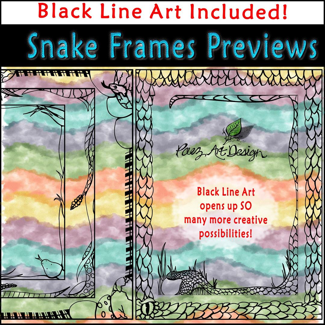 Snake Clip Art Frames: Black Line Art {PaezArtDesign}