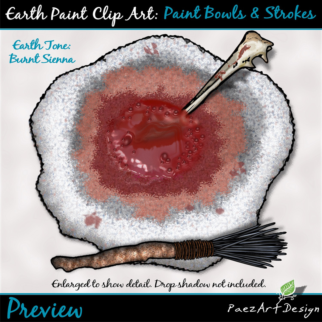 Earth Paint Clip Art_ Paint Bowl {PaezArEarth Paint Clip Art: Paint Bowls & Strokes {PaezArtDesign}