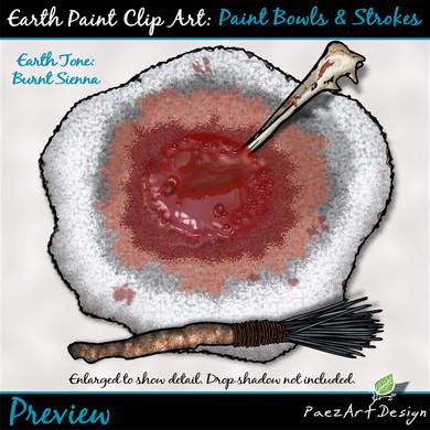 Earth Paint Clip Art_ Paint Bowl {PaezArEarth Paint Clip Art: Paint Bowls & Strokes {PaezArtDesign}