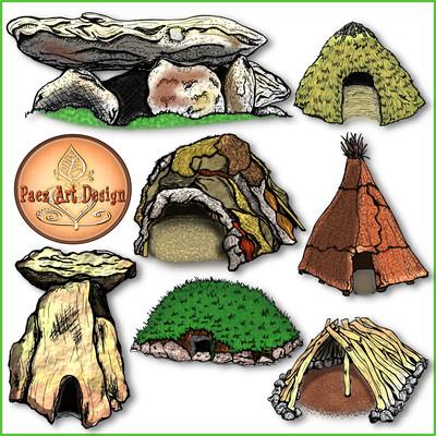 Prehistoric Dwellings Clip Art {PaezArtDesign}