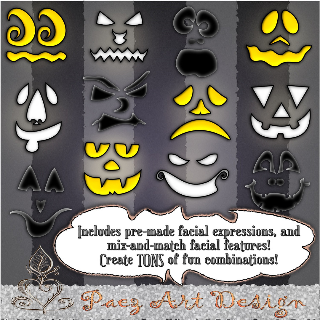 Create Your Own Jack-O-Lantern Clip Art {PaezArtDesign}