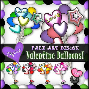 Valentine Balloons Clip Art | Holiday Valentine Graphics | PaezArtDesign Digital Art Images