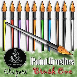 Paintbrush Clip Art Images | Curvy Tip Brush | Multi-color | PaezArtDesign