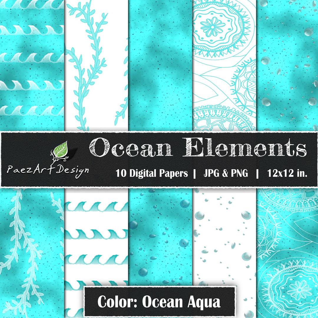 Ocean Elements: Ocean Aqua {PaezArtDesign}