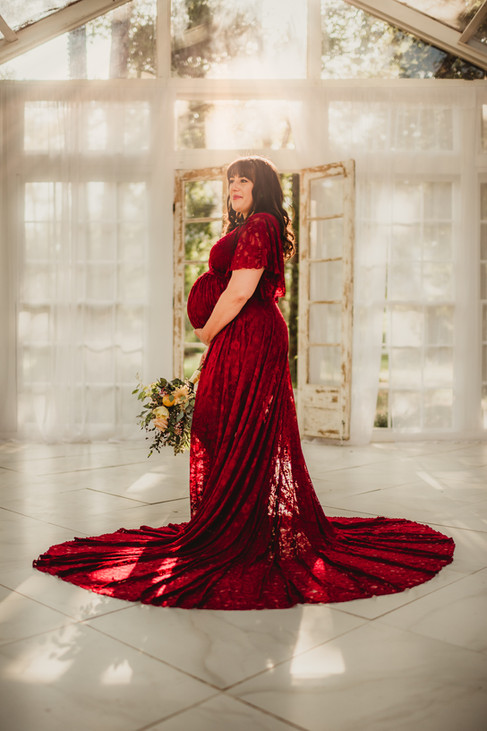 Pregnant Woman in a Red Dress
