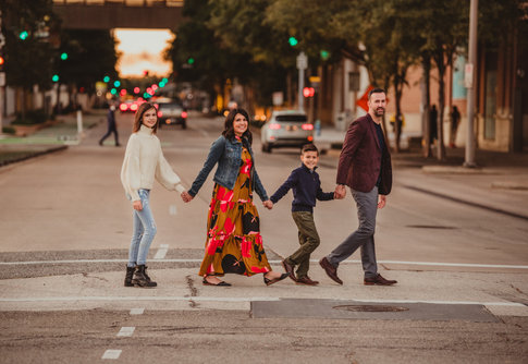 Family Crossing The Street