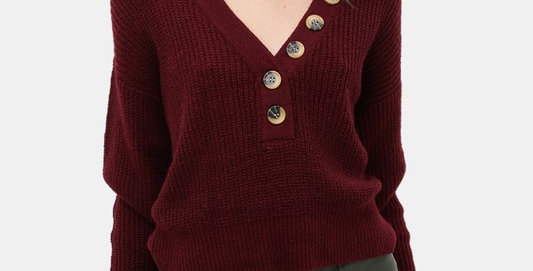 V Neck Buttoned Sweater Top
