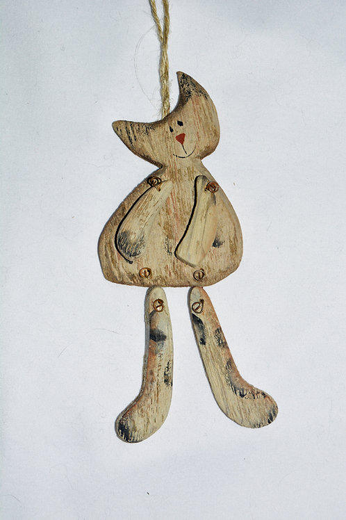 RUSTIC WOODEN HANGING CAT OPTION 6 (BLUE HUES)