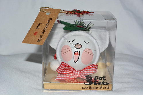 XMAS KITTY BAUBLES - WHITE SINGING