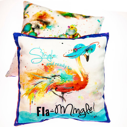 SASSY FLAMINGO CATNIP PILLOW WITH RATTLE