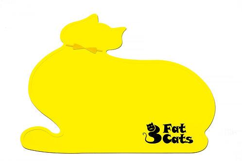 CAT SHAPE PET FOOD MAT - YELLOW