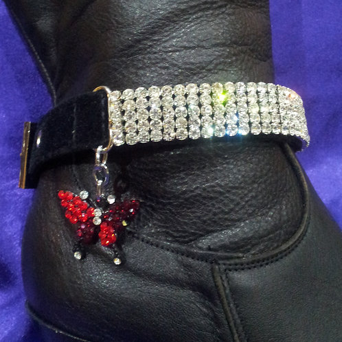 BOOT STRAPS WITH RED BUTTERFLY CHARM (PAIR)