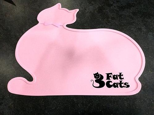 CAT SHAPE PET FOOD MAT - PINK