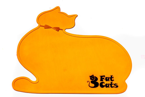 CAT SHAPE PET FOOD MAT - ORANGE