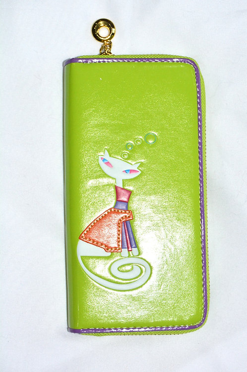 LADIES PURSE/WALLET - GREEN WITH CAT MOTIF