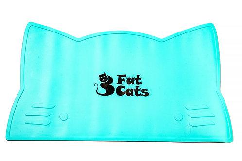 CAT HEAD PET FOOD MAT - TIFFANY BLUE
