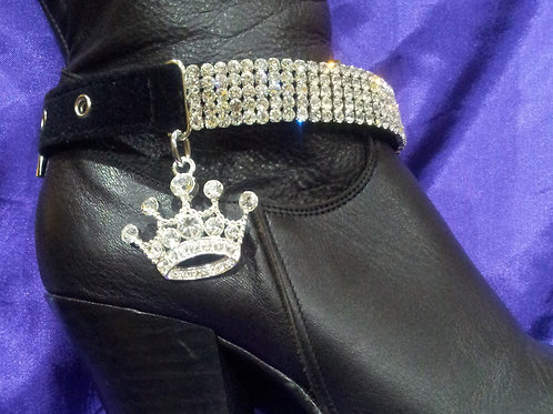 BOOT STRAPS/SILVER CROWN CHARM (PAIR)