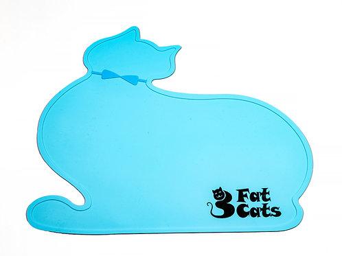 CAT SHAPE PET FOOD MAT - BLUE