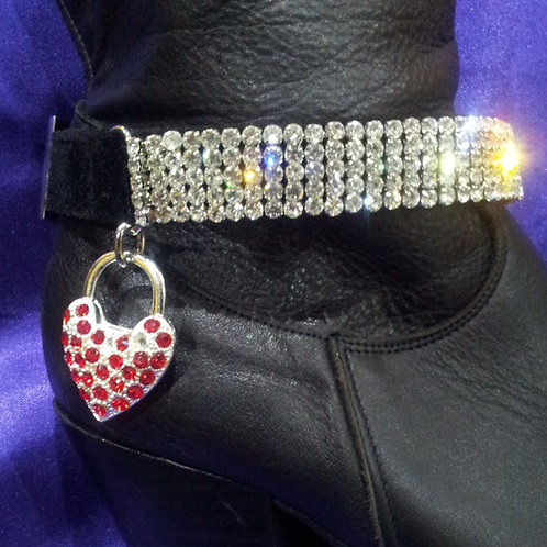 BOOT STRAP WITH RED PADLOCK CHARM (PAIR)