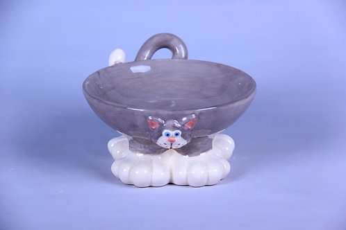 GREY 'YAWNING CAT' PET BOWL - HAND MADE