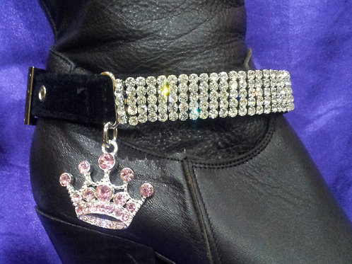 BOOT STRAPS/PINK CROWN CHARM (PAIR)