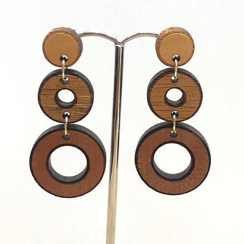Triple circle drop earrings