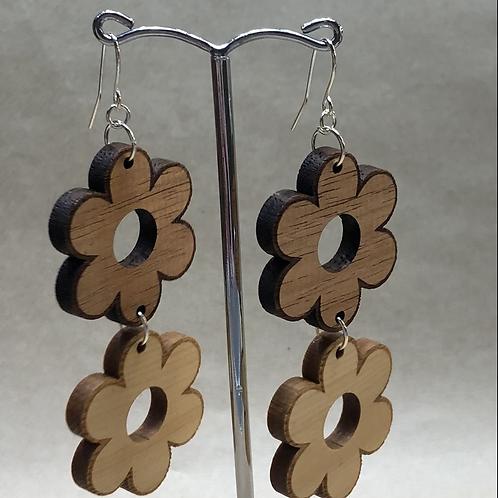'Tassie Dazzle' Wooden flower earrings