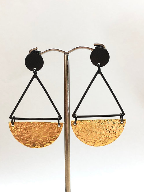 Textured Black & Gold Dangles