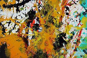 Action Painting En Vert Et Jaune Color Field Et Peinture Gestuelle