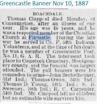 Greencaastle Banner Nov 10 1887 Fincastl