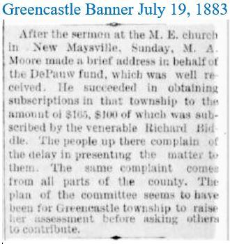 Greencastle Banner July 19 1883 Endows D
