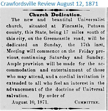 Crawfordsville Review Aug 12 1871 Church