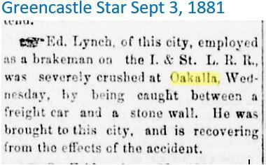 Greencastle Star Sept 3 1881 Engineer Ly