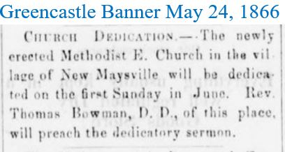 Greencastle Banner May 24 1866 Methodist